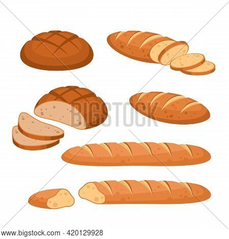 Cartoon Bread. Bakery Wheat Products. Rye Breads, Baguette And Ciabatta. Whole And Sliced French Bag