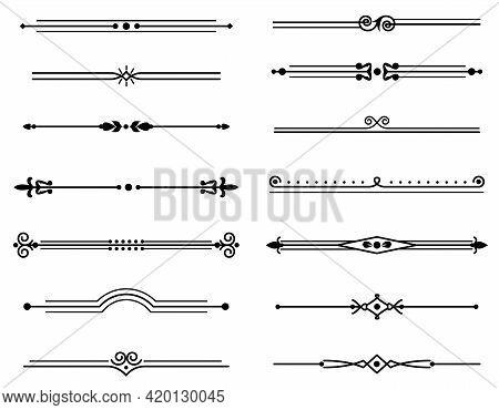 Line Vintage Separator. Decorative Elegant Retro Fancy Lines Dividers, Classical Style Frame, Black