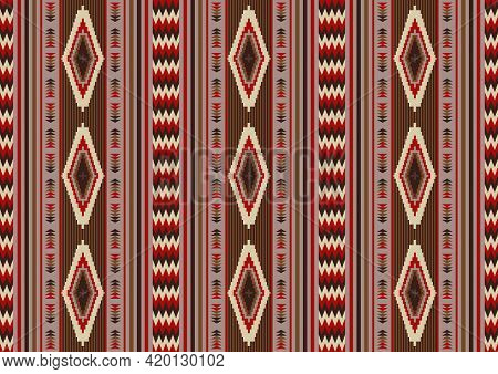 Navajo Tribal Seamless Pattern. Native Indian Ornament. Ethnic South Western Decor Style. Mexican Ru