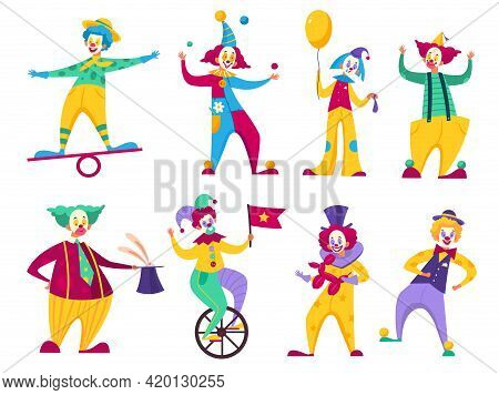 Funny Clowns. Circus Comedians With Colorful Costumes Collection, Various Roles Cartoon Artist Chara