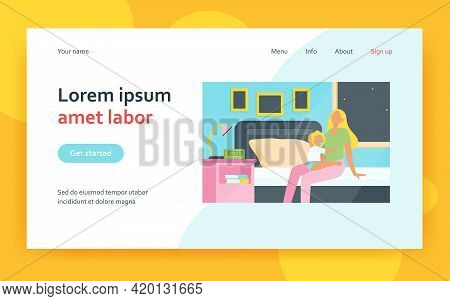Tired Mother Sitting On Bed With Baby At Night. Insomnia, Newborn, Infant Flat Vector Illustration.
