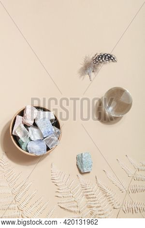 Dry Fern, Fortune Telling Ball And Crystal Minerals On Beige Background. Magic Rock For Crystal Ritu