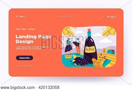 Happy Couple Producing Natural Wine Isolated Flat Vector Illustration. Cartoon Male And Female Chara