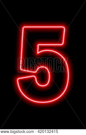 Neon Red Number 5 On Black Background. Learning Numbers, Serial Number, Price, Place. Vector Illustr