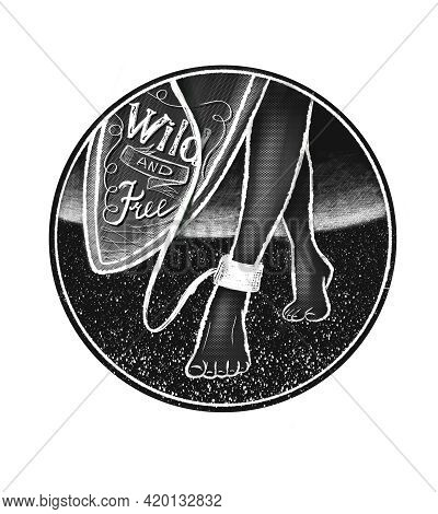 Leash. The Rope Connecting The Surf Board And The Slender Graceful Leg Of The Surfer Girl. The Writi