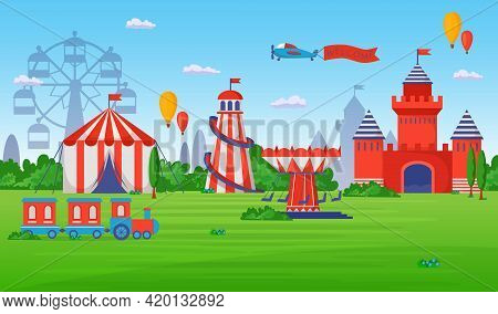 Amusement And Entertainment Park. Flat Vector Illustration. Entertainment Place For Kids With Merry-
