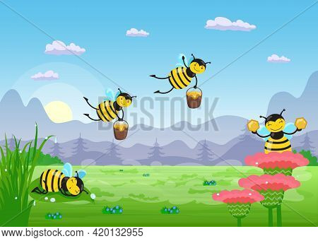 Happy Cartoon Bees In Meadow Landscape. Flat Vector Illustration. Funny Flying Insects, Picking Hone