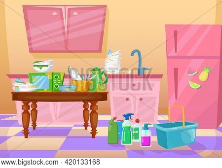 Mess In Kitchen Cartoon Vector Illustration. Dirty Dishes, Plates, Utensils And Detergents In Colorf