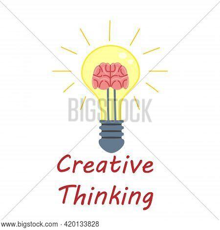 Light Bulb Creative Thinking Logo Symbol Brain Inside. Creative Idea, Mind, Solution, Creativity. Ve