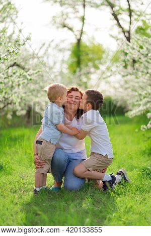 Mother With Sons Kiss And Cuddle In Flowering Garden. Mothers Day