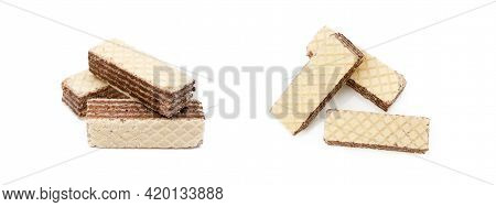 Crispy Wafers With Creamy Hazelnut Filling Isolated On White Background