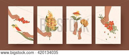 Set Of Contemporary Art Posters With Floral Composition. Vector Illustration. .drawings Of Hands Hol