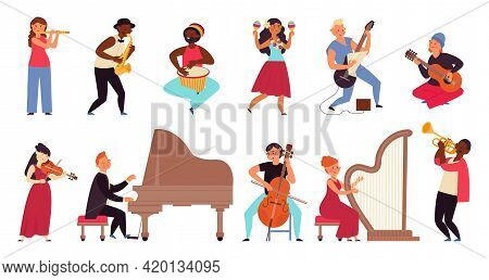 Musicians Characters. Flat Pop Star, Young People Band. Cartoon Guitarist, Jazz Concert And Singer.