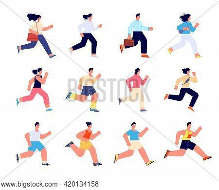 People Running. Female Run, Race Healthy Group. Jogging Person, Employee And Athlete Characters. Spo