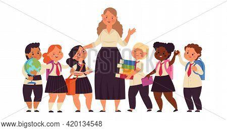 Happy Kids With Teacher. Student College Teacher, Cartoon Kid Of Elementary School. Diverse Boy Girl