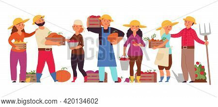 Cartoon Farmers Group. Farm Family Working, Man Woman Agricultural Workers. Garden Community, Agricu