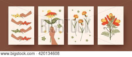 Set Of Contemporary Art Posters With Blossom Theme. Vector Illustration. .blooming Colorful Wildflow