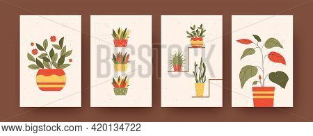Set Of Contemporary Art Posters With Floral And Garden Theme. Vector Illustration. .collection Of Pl