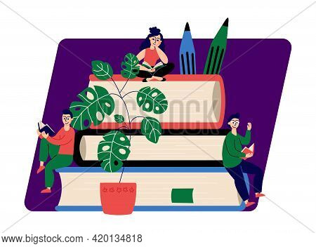 People Reading Books. Students On Book Pile, Library Or Education Concept. Bookstore Illustration, D