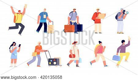 Travel People With Luggage. Traveller Vacation, Family Tourist In Airport. Isolated Hurry To Departu