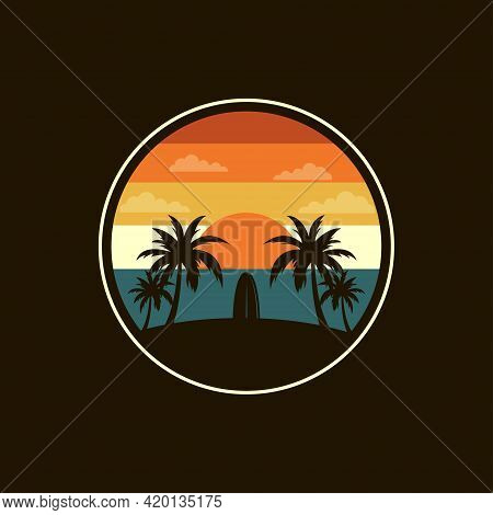 Surf Logo Design On A Tropical Beach, Vector Illustration