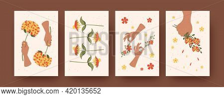 Set Of Contemporary Art Posters With Flower Arrangement Theme. Vector Illustration. .hands Holding B