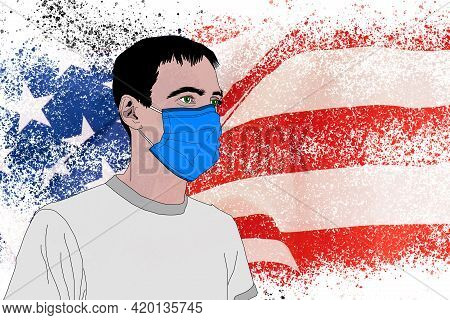 Man On The Background Of The Flag Of America. Man With Flag Of United States Of America. American Pa
