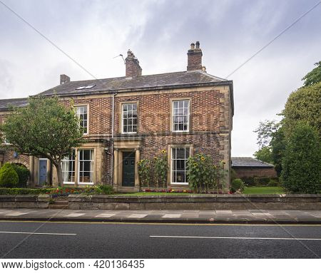 Gretna Green, Scotland, Uk, August 2020 - Facade Of An End Of Terrace House In The Village Of Gretna