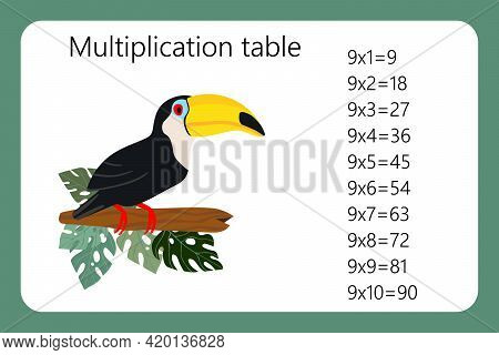 Multiplication Square. School Vector Illustration With Toucan Bird. Multiplication Table. Poster For