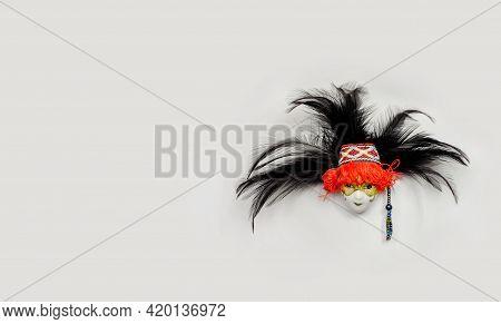 Fridge Magnet Venetian Mask, Traditional Souvenir. Copy Space.