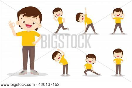 Bundle Set Of Boy On Exercise Various Actions,there Are Various Actions To Move The Body Healthy