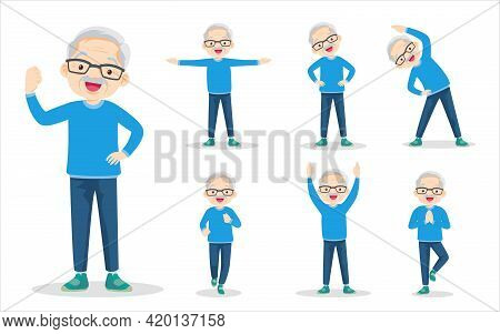 Bundle Set Of Elderly Man On Exercise Various Actions. Grandfather Are Various Actions To Move The B