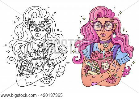 Coloring Page, Line Drawing For Coloring. Beautiful Young Artist Girl With Colored Hair In Glasses,