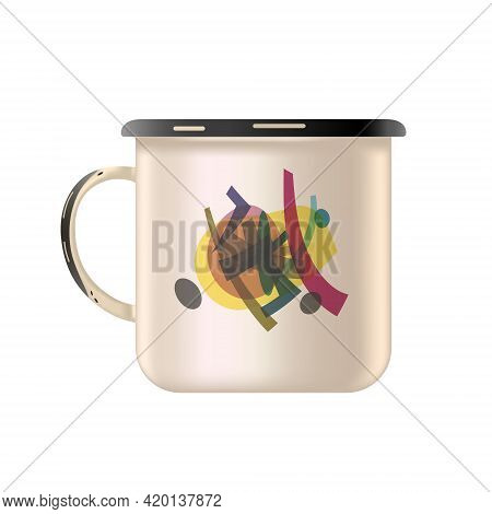 Metal Enamel Mug With An Abstract Painting. Old Style. Isolated White Background. Vector Illustratio