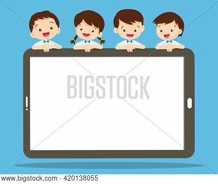 Children Peeking Behind Blank Smartphone.smiling Boy And Girl Hiding Behind Smartphone Tablet.