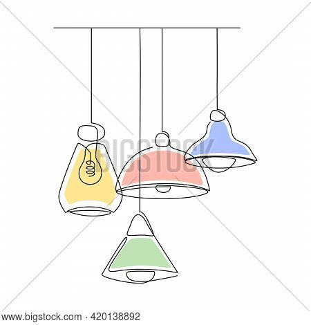 Set Of Loft Lamps And Iron Lampshades In One Line Drawing. Vector Illustration Of Hanging Vintage Ch