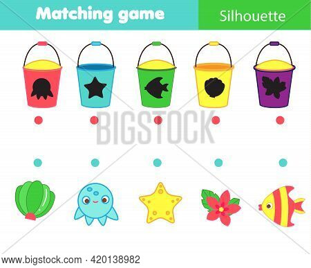 Shadow Matching Game. Summertime Beach Theme Kids Activity. Find Silhouettes Of Objects.