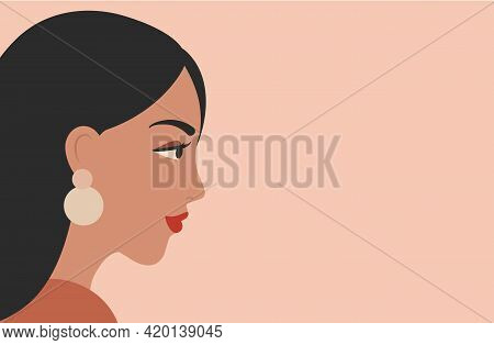 Vector Banner With Woman Portrait In Minimal Style. Female Face Profile On Soft Pink Background. Adv