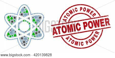 Winter Pandemic Collage Atom Model, And Dirty Atomic Power Red Round Badge. Collage Atom Model Is Fo