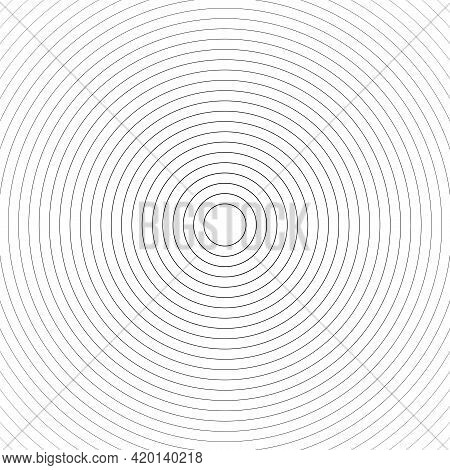 Concentric Linear Circles, Neutral Round Element. Halftone Outline Element Isolated On White Backgro