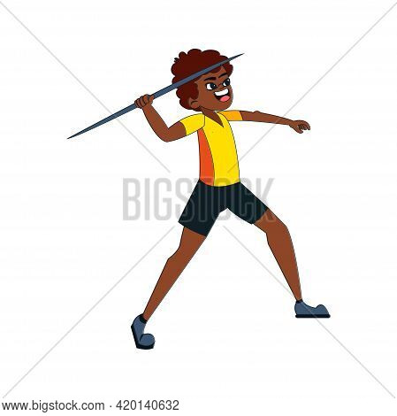Isolated Male Character Throwing A Javelin Vector Illustration