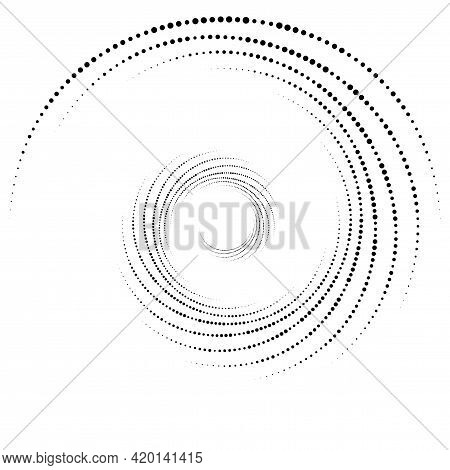 Dotted, Dots, Speckles Abstract Concentric Circle. Spiral, Swirl, Twirl Element. Circular And Radial
