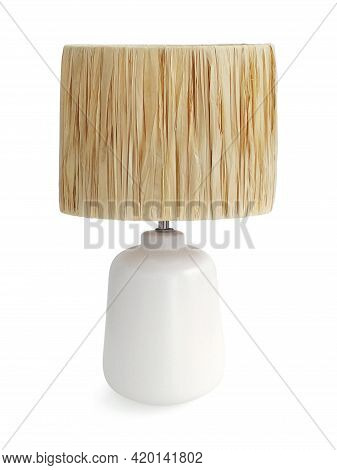 White Minimalist Table Lamp And Bamboo Weave Isolated On White Background. Close Up Of White Ceramic