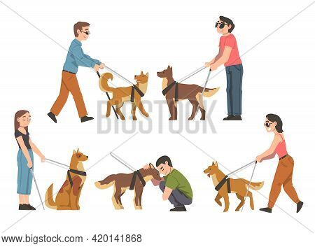 Seeing Eye Dog Guiding Blind People Set, Trained Animal Helping Disabled Person, Rehabilitation, Han
