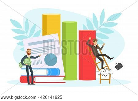 Unsuccessful Businessman Falling Down From Broken Ladder, Business Failure, Work Mistake, Bankruptcy