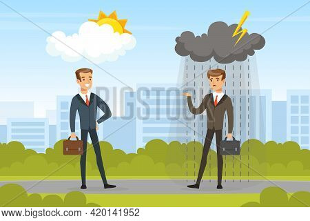 Successful And Unsuccessful Businessmen Standing On City Landscape, Business Failure, Work Mistake,