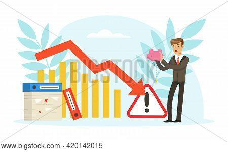 Stressed Businessman With Falling Trading Charts, Business Failure, Work Mistake, Bankruptcy Concept
