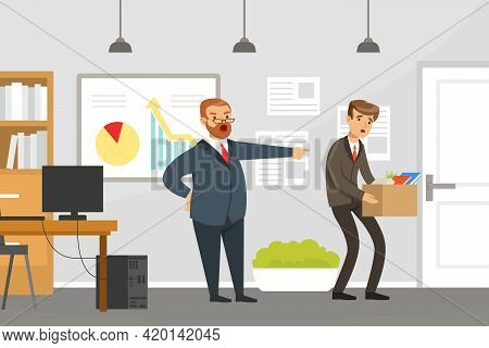 Businessman Fired Employee, Stressed Man Leaving Job, Business Failure, Work Mistake, Bankruptcy Con