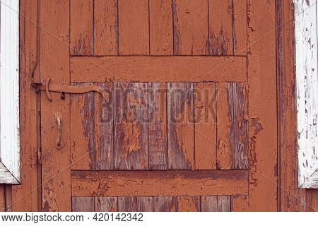 Brown Wood Structure Texture Of An Old Door. Cracked Wooden Pattern. Plank Background. Natural Wood
