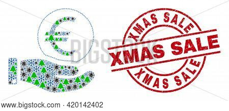 Winter Pandemic Collage Hand Offer Euro Coin, And Dirty Xmas Sale Red Round Stamp. Collage Hand Offe